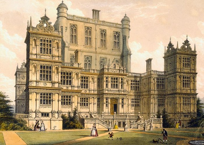 Stately Home Greeting Card featuring the drawing Wollaton Hall, Nottinghamshire, 1600 by Joseph Nash