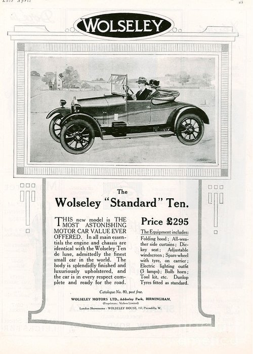 Adverts Greeting Card featuring the drawing Wolseley 1923 1920s Usa Cc Cars by The Advertising Archives