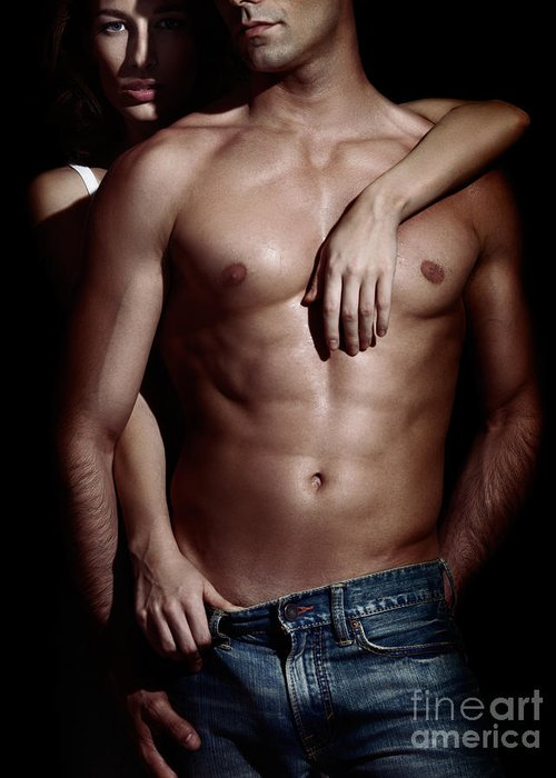 Couple Greeting Card featuring the photograph Woman Behind Sexy Man With Bare Torso And Jeans by Oleksiy Maksymenko