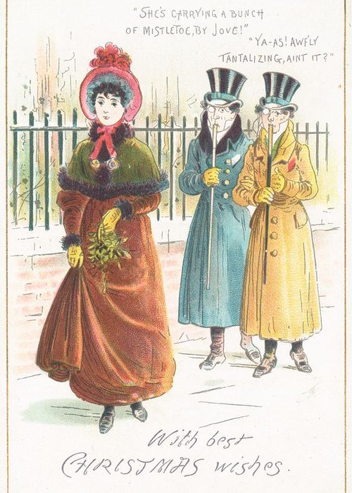 Greetings Greeting Card featuring the painting Woman Carrying Bunch Of Mistletoe by English School