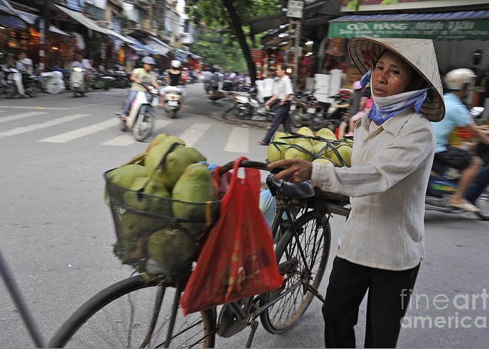 Street Greeting Card featuring the photograph Woman Carrying Fruit On Bike by Sami Sarkis