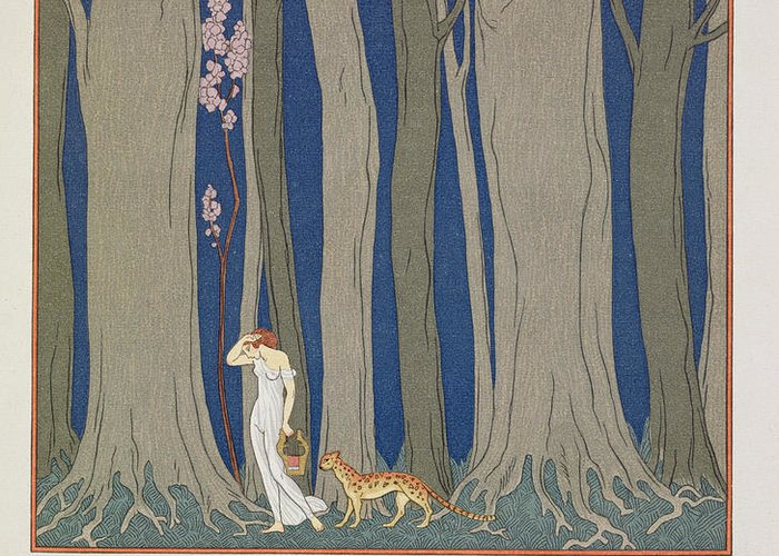 Forest Greeting Card featuring the painting Woman Followed By A Leopard by Georges Barbier