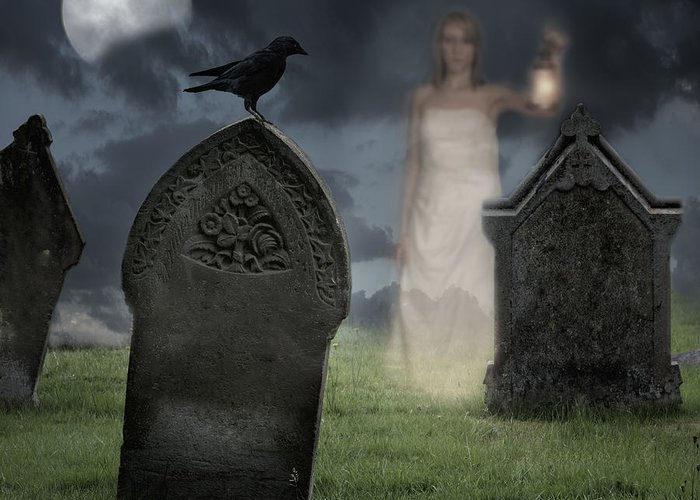 Halloween Greeting Card featuring the photograph Woman Haunting Cemetery by Amanda Elwell