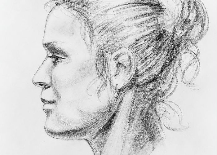 Woman Greeting Card featuring the drawing Woman Head Study by Irina Sztukowski