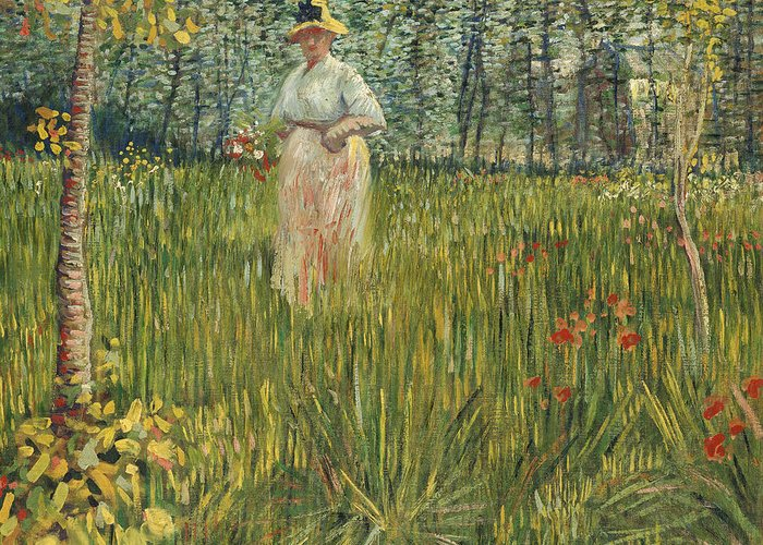 Vincent Van Gogh Greeting Card featuring the painting Woman In A Garden by Vincent van Gogh