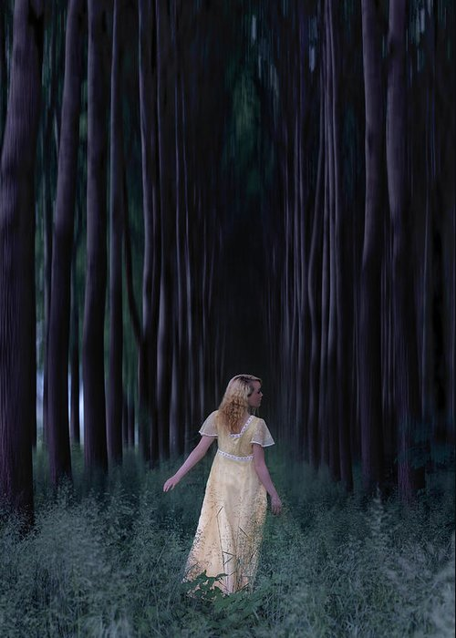 Woman Greeting Card featuring the photograph Woman In Forest by Joana Kruse