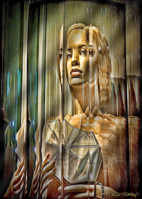 Woman In Glass - Shading Greeting Card featuring the photograph Woman In Glass by Chuck Staley