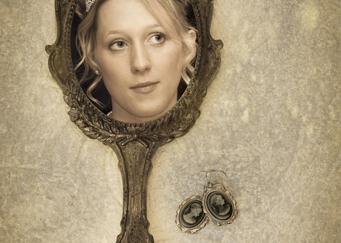 Woman Greeting Card featuring the photograph Woman In Mirror by Amanda Elwell