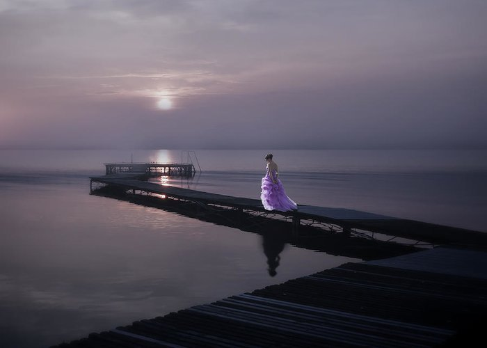 Woman Greeting Card featuring the photograph Woman On Footbridge by Joana Kruse