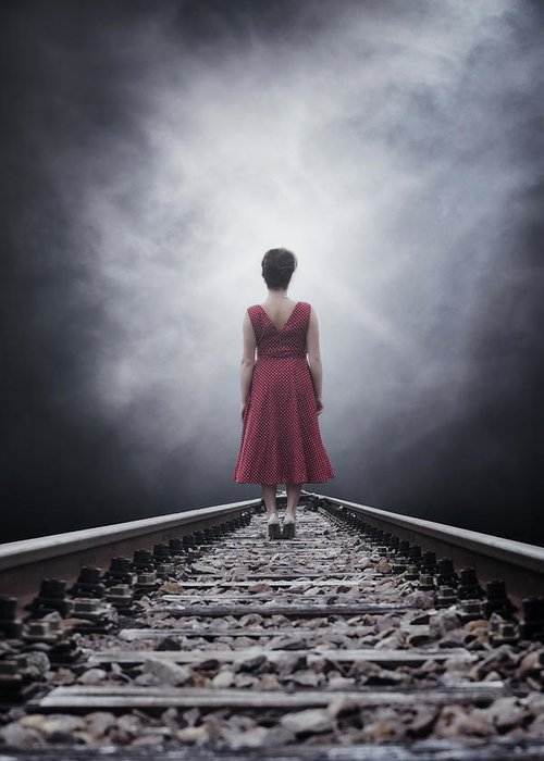 Woman Greeting Card featuring the photograph Woman On Tracks by Joana Kruse