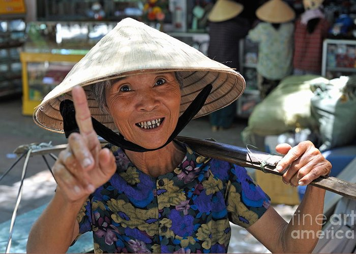 Woman Greeting Card featuring the photograph Woman Portrait At Market In Hue by Sami Sarkis