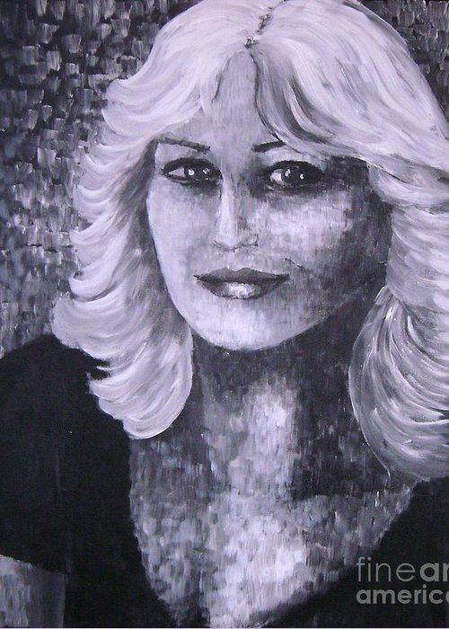 Woman Greeting Card featuring the painting Woman Portreit by Roni Ruth Palmer