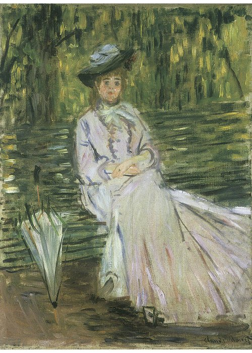 Woman Seated On A Bench Greeting Card featuring the painting Woman Seated On A Bench by Claude Monet