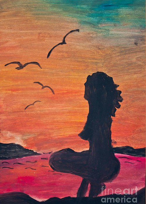 Abstract Greeting Card featuring the photograph Woman Silhouette On The Beach - Kid's Painting by Aleksandar Mijatovic