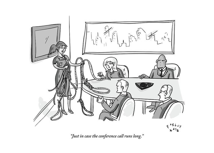Office Workers Greeting Card featuring the drawing Woman Stands At The Front Of A Board Room Holding by Farley Katz