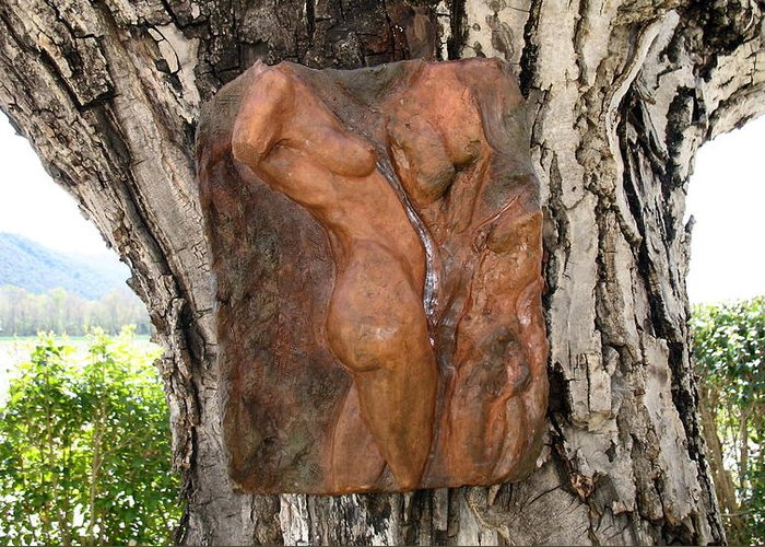 Nude Woman Torso Sculpture Greeting Card featuring the relief Woman Torso Relief by Flow Fitzgerald