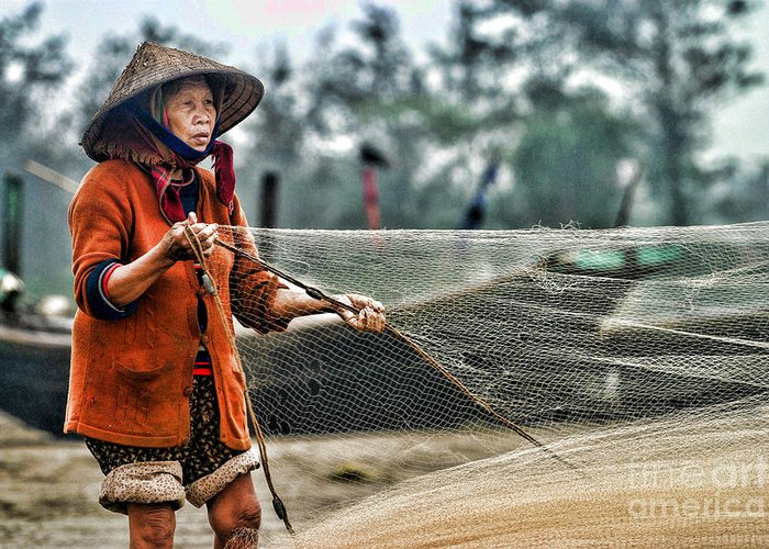 Vietnam Greeting Card featuring the photograph Woman Vietnam Color by Chuck Kuhn
