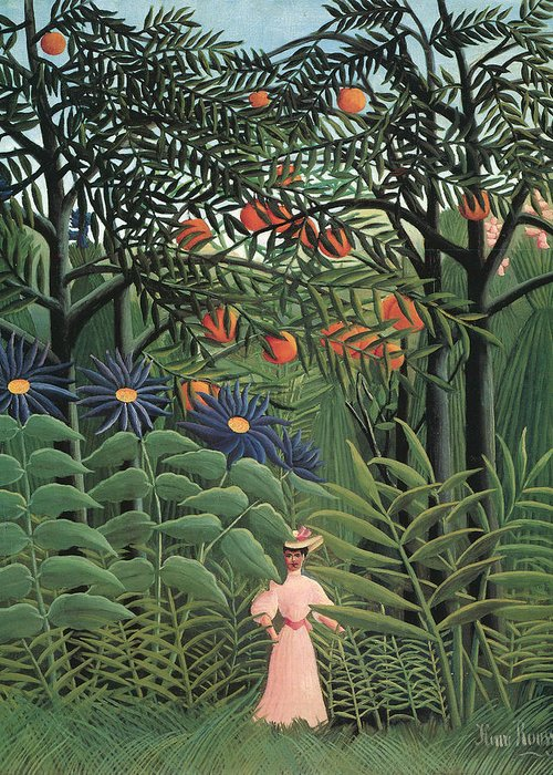 Henri Rousseau Greeting Card featuring the painting Woman Walking In An Exotic Forest by Henri Rousseau