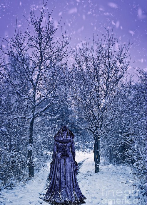 Woman Greeting Card featuring the photograph Woman Walking In Snow by Amanda Elwell