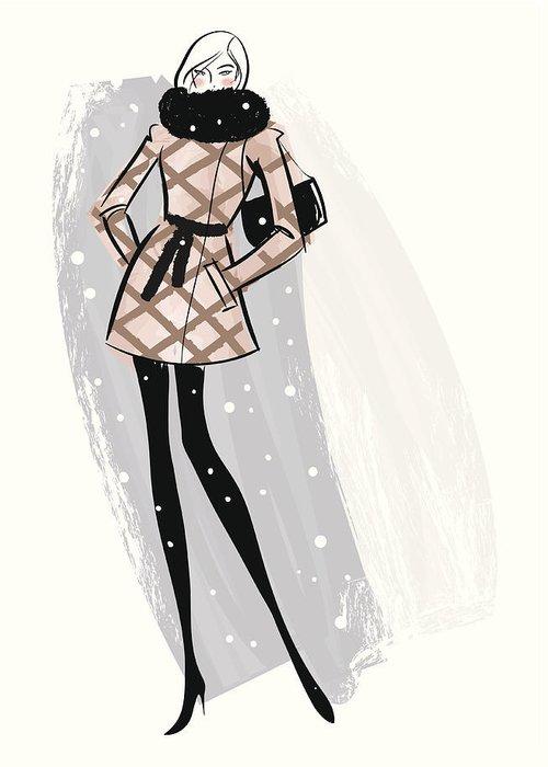 People Greeting Card featuring the digital art Woman Wearing Jacket In Snow by Mcmillan Digital Art