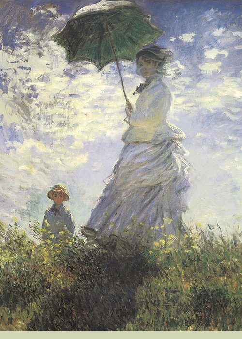 Woman With A Parasol Greeting Card featuring the painting Woman With A Parasol by Claude Monet