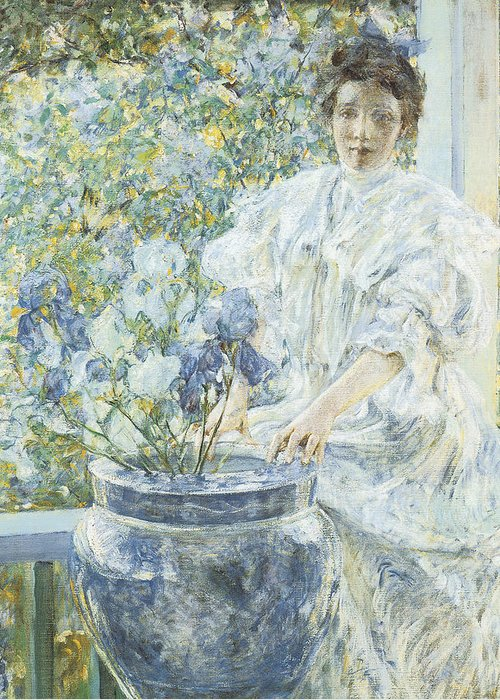 Robert Reid Greeting Card featuring the painting Woman With A Vase Of Irises by Robert Reid