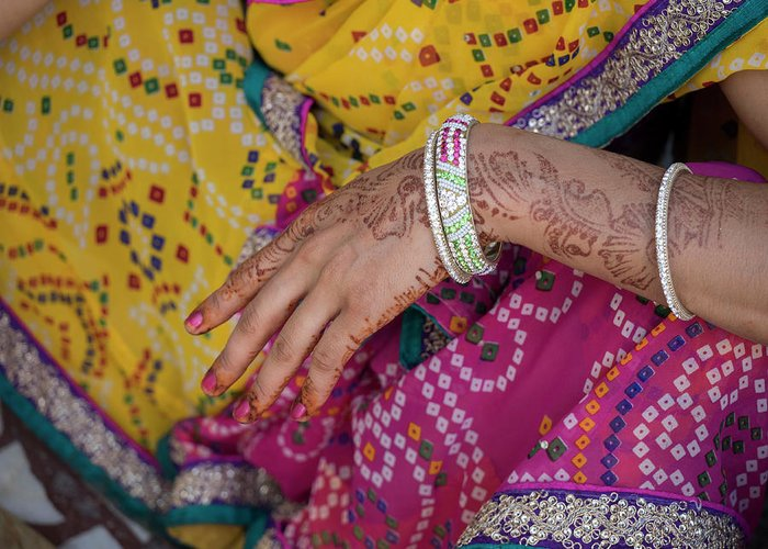Woman With Henna Tattoo On Her Hand Greeting Card for Sale by ...