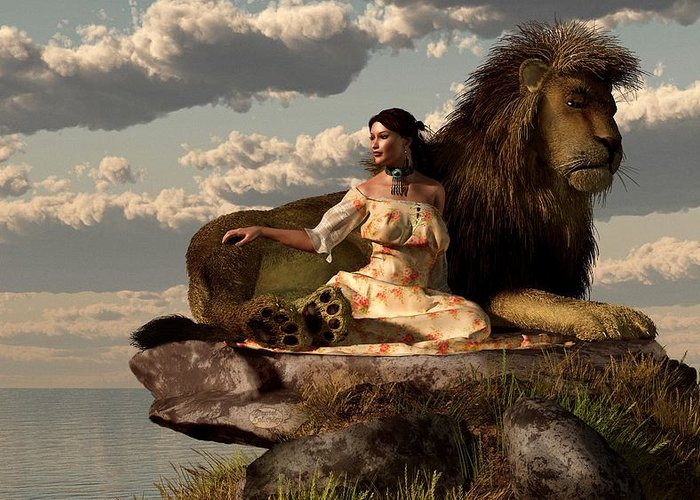 Lion Greeting Card featuring the digital art Woman With Lion by Daniel Eskridge