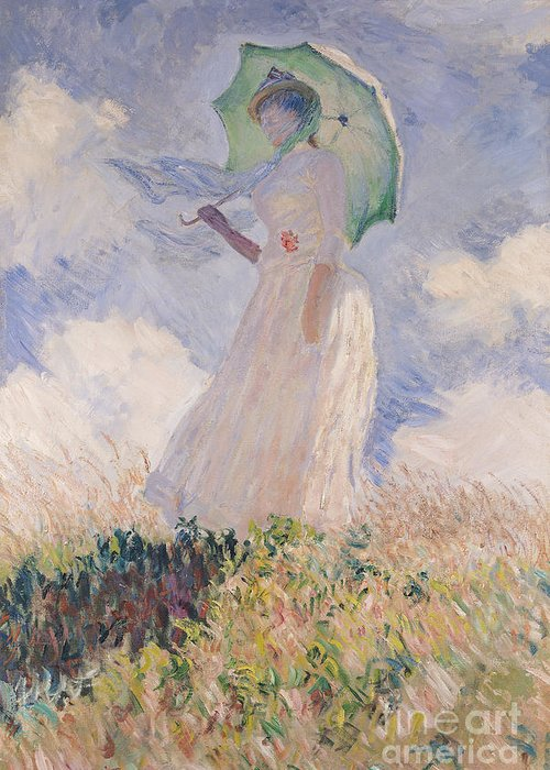 Woman With Parasol Turned To The Left Greeting Card featuring the painting Woman With Parasol Turned To The Left by Claude Monet