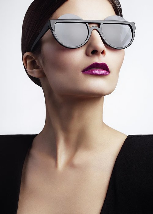 Cool Attitude Greeting Card featuring the photograph Woman With Trendy Eyewear by Lambada