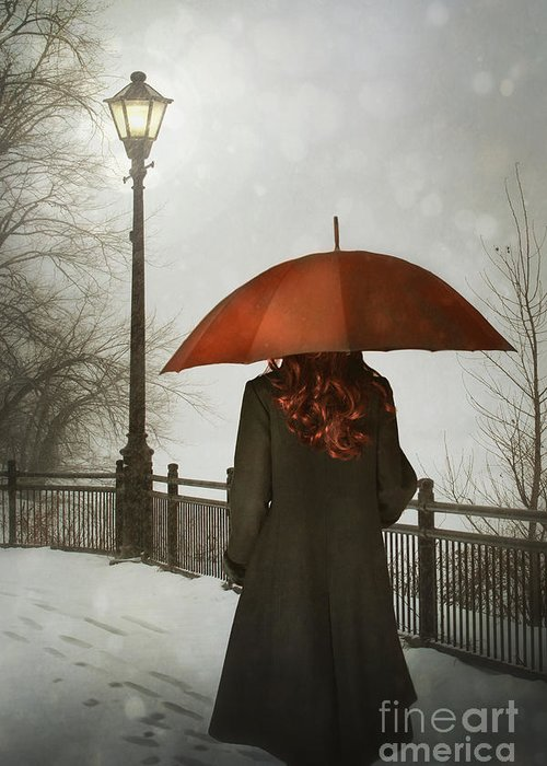47400cb9e8f7c Woman With Umbrella Walking Alone At Night Greeting Card for Sale by Sandra  Cunningham