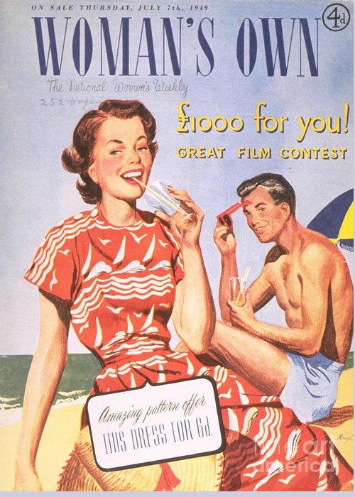 1940�s Greeting Card featuring the drawing Womans Own 1949 1940s Uk Holidays by The Advertising Archives