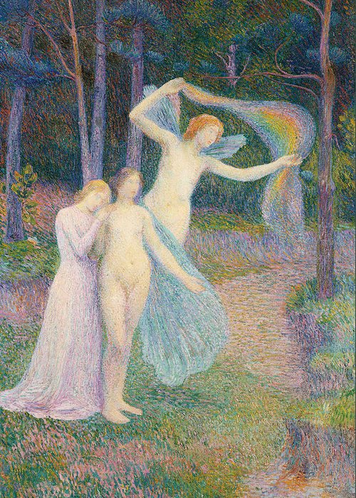 Women Amongst The Trees Greeting Card featuring the painting Women Amongst The Trees by Hippolyte Petitjean