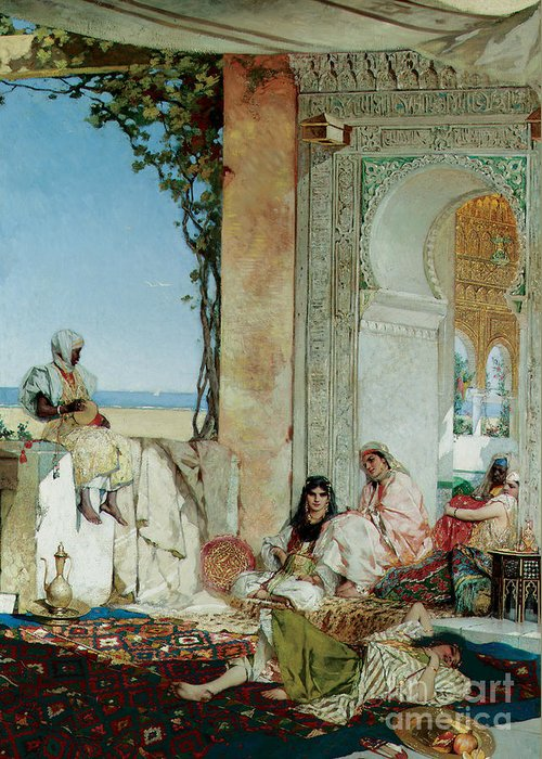 Orientalist; Oriental; Exotic; Moorish; Morocco; Moroccan; North Africa; North African; Women; Harem; Concubine; Concubines; Odalisque; Odalisques; Interior; Terrace Greeting Card featuring the painting Women Of A Harem In Morocco by Jean Joseph Benjamin Constant