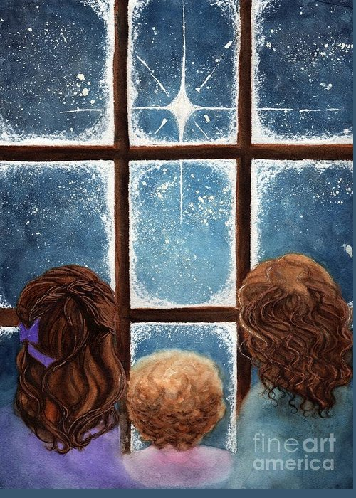 Children Greeting Card featuring the painting Wonder Of The Night by Janine Riley
