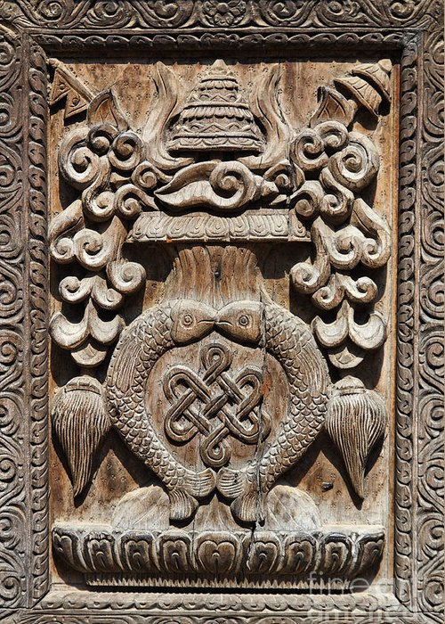 Bhaktapur Greeting Card featuring the photograph Wood Carving At Bhaktapur In Nepal by Robert Preston