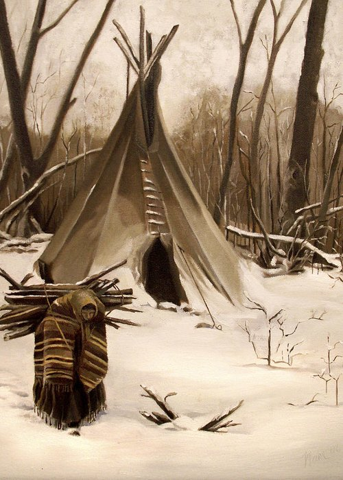 Native American Greeting Card featuring the painting Wood Gatherer by Nancy Griswold