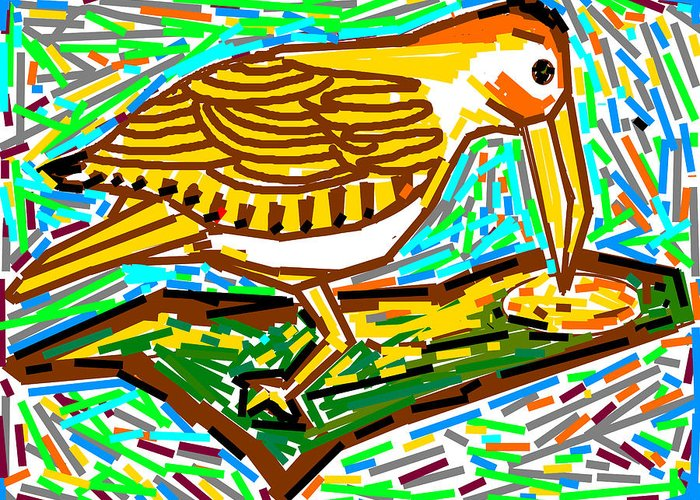 Wood-pecker Greeting Card featuring the digital art Wood-pecker by Anand Swaroop Manchiraju