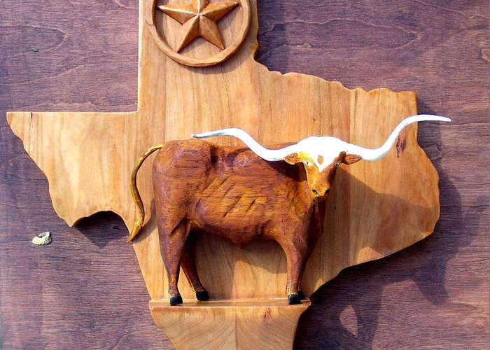 Animals Greeting Card featuring the relief WOODCRAFTED Texas Longhorn by Michael Pasko