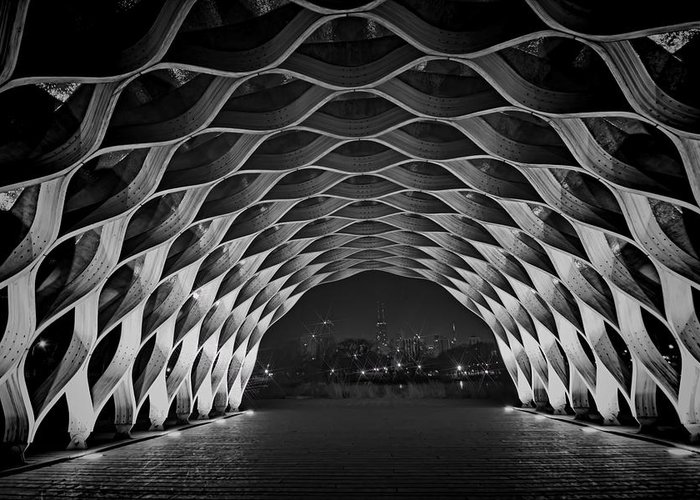 Wooden Arch Greeting Card featuring the photograph Wooden Archway With Chicago Skyline In Black And White by Sven Brogren