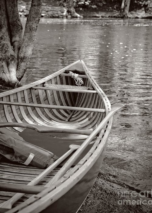Canoe Greeting Card featuring the photograph Wooden Canoe by Edward Fielding