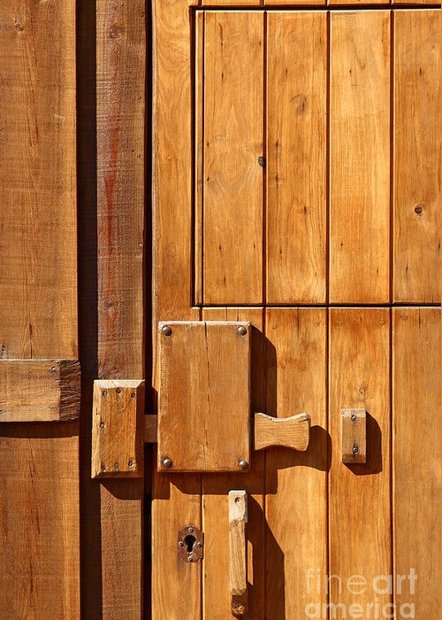 Ancient Greeting Card featuring the photograph Wooden Door Detail by Carlos Caetano
