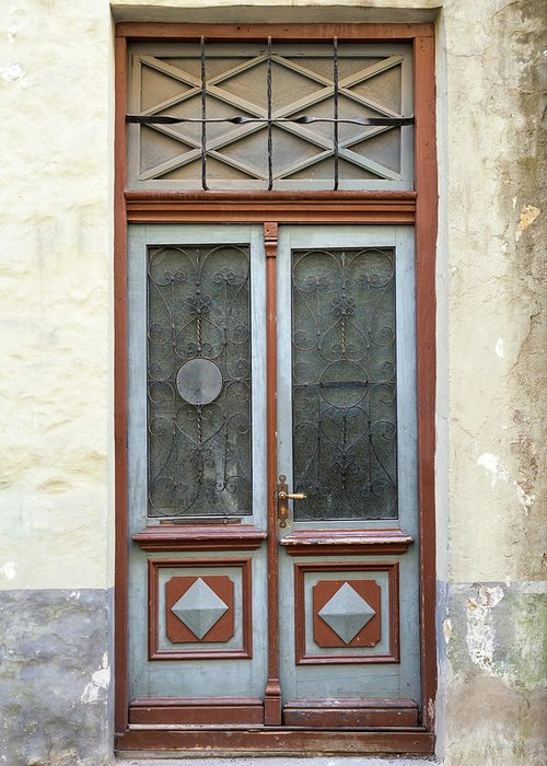 Rectangle Greeting Card featuring the photograph Wooden Door With Glass And Decoration by Eugenesergeev