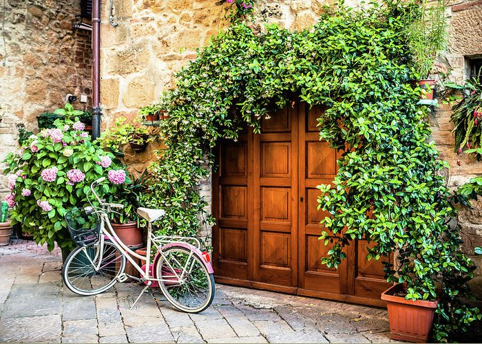 Val D'orcia Greeting Card featuring the photograph Wooden Gate With Plants In An Ancient by Giorgiomagini
