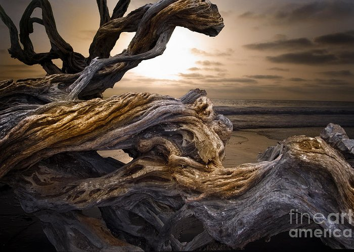 Mountains Greeting Card featuring the digital art Wooden Knitting by Angelika Drake