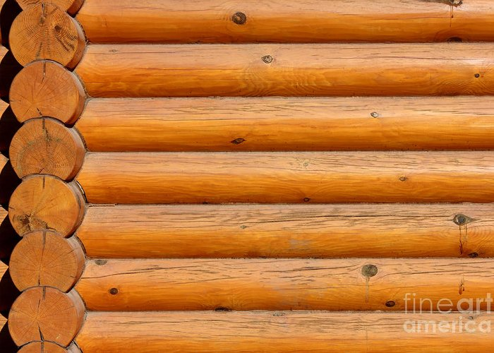 Abstract Greeting Card featuring the photograph Wooden Logs Wall Background by Kiril Stanchev
