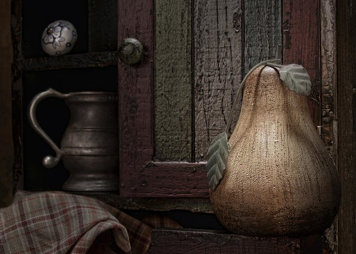 Pear Greeting Card featuring the photograph Wooden Pear Still Life by Tom Mc Nemar