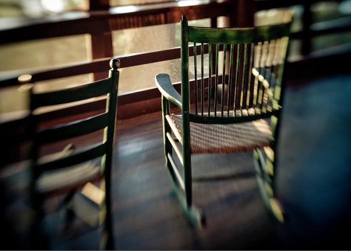 Camp Oatka Greeting Card featuring the photograph Wooden Rocking Chairs On A Deck by Kevin Steele