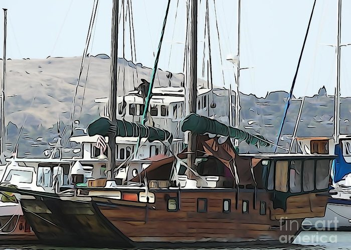 Sailboat Greeting Card featuring the photograph Wooden Sailboat by Phil Campanella