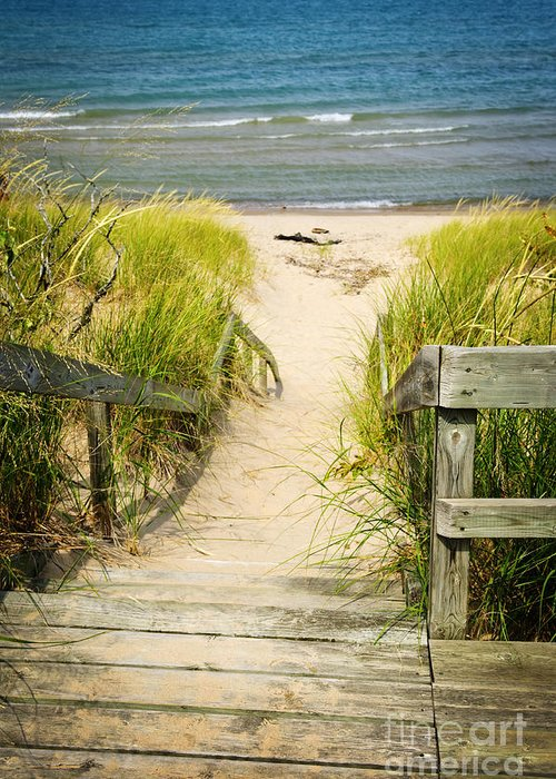 Beach Greeting Card featuring the photograph Wooden Stairs Over Dunes At Beach by Elena Elisseeva